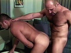Hairy cop gives him a butt fucking