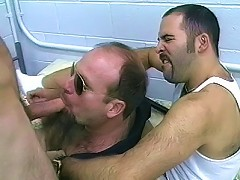 Big hairy gays in a threesome anal banging